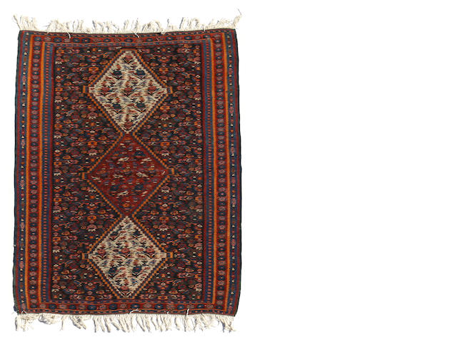 A Senneh kilim size approximately 3ft. 5in. x 5ft.