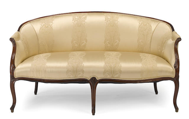A Louis XV walnut canape<BR />third quarter 18th century