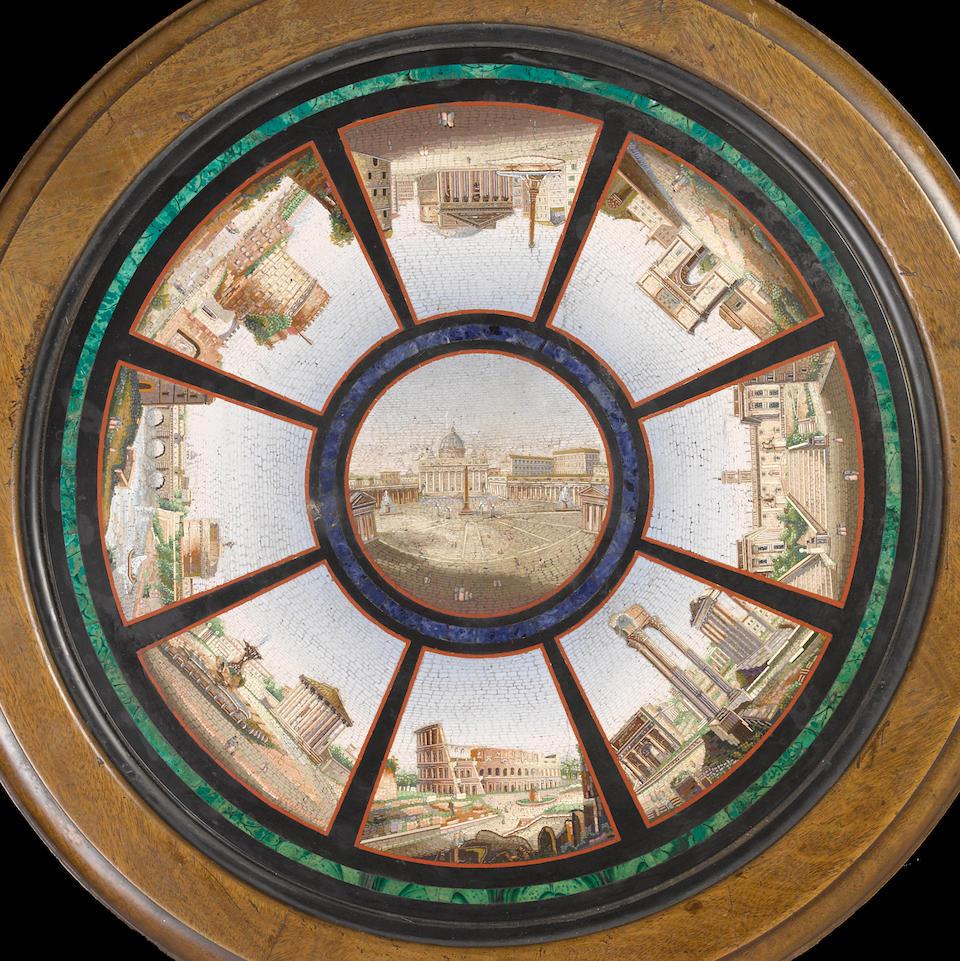 An fine Italian Baroque Revival micro mosaic walnut guéridon mid 19th century