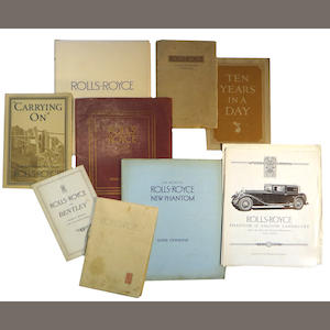 A grouping of Rolls-Royce and sales brochures and factory liturature,