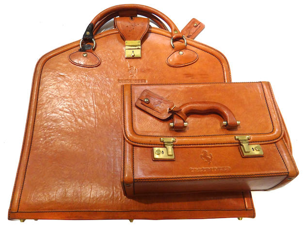 A 2 piece Ferrari Testarrosa luggage set by Schedoni Leather, Modena,
