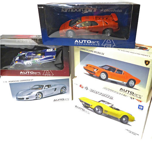 A 5 piece grouping of 1:18 scale Auto Art display models of various auto marques.