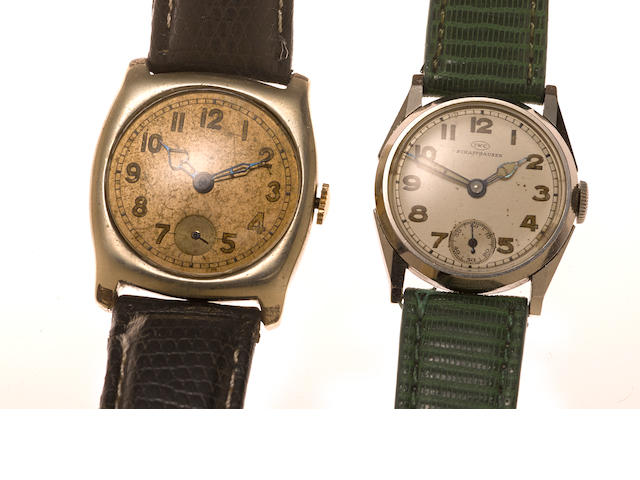 Two metal wristwatches, International Watch Co., with later leather straps