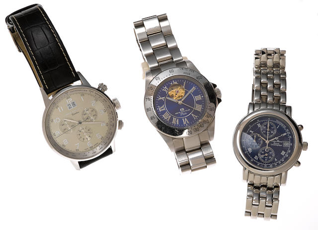 A stainless steel chronograph date bracelet wristwatch, Lucien Piccard, together with two stainless steel chronograph bracelet and automatic leather strap wristwatches, Oceanaut