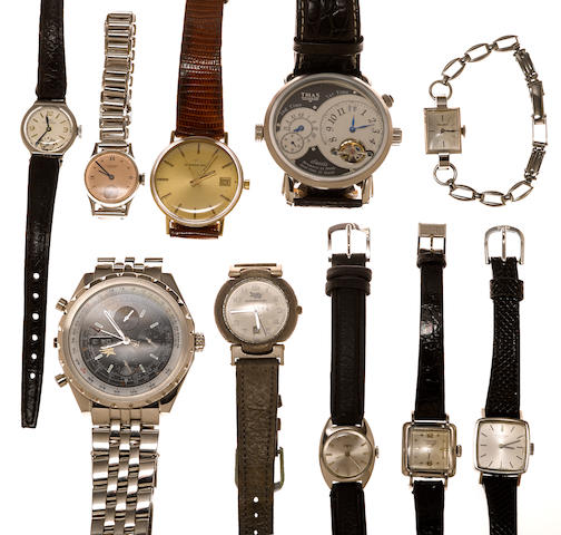 A collection of ten stainless steel, metal, 14k gold and later leather strap wristwatches