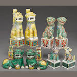 A group of eight polychrome enameled porcelain fu lions