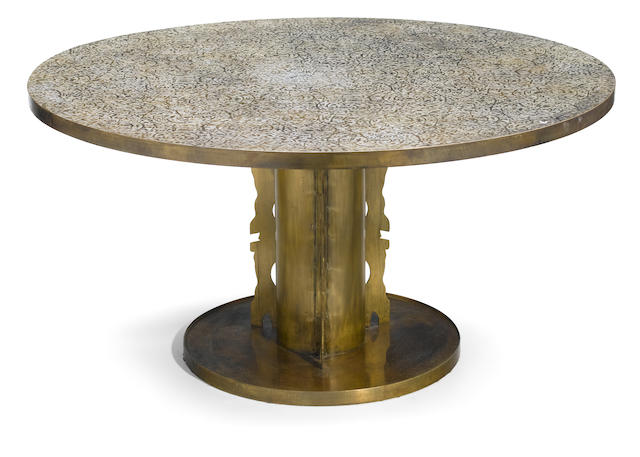 A Phillip & Kelvin Laverne enameled circular center table  <BR />circa 1970