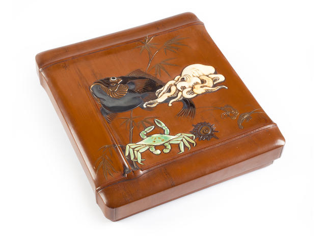 An lacquer suzuribako (writing box) with ivory inlays Style of Hashichi (1817-1882), Meiji period (late 19th century)