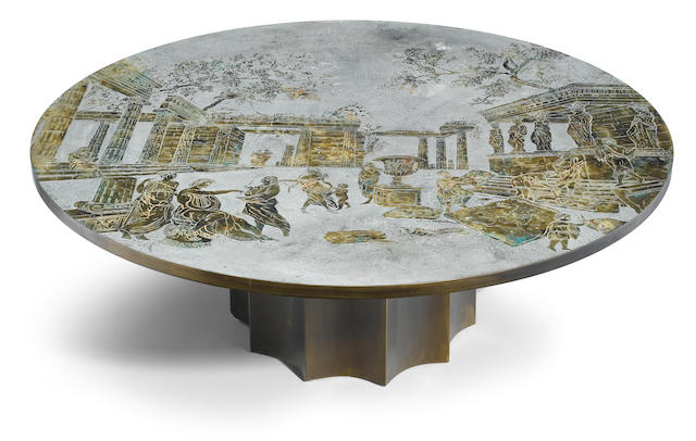 A Philip & Kelvin Laverne etched bronze circular low table