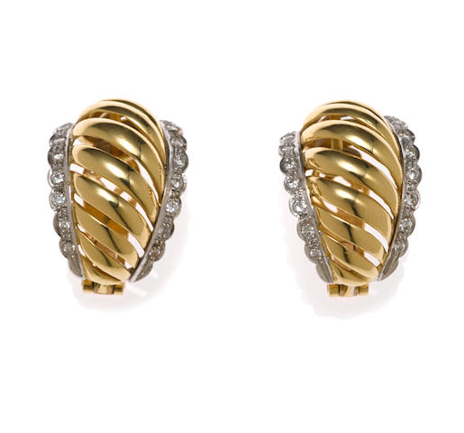 Pair of 18k yellow gold and diamond earclips, Lalounis