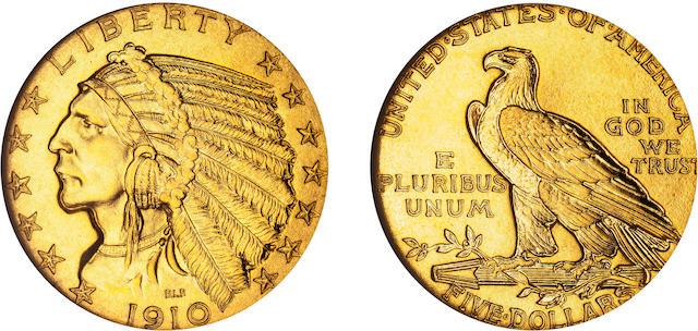1910 $5 PF-68 NGC
