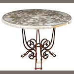 A Scagliola table on wrought iron base