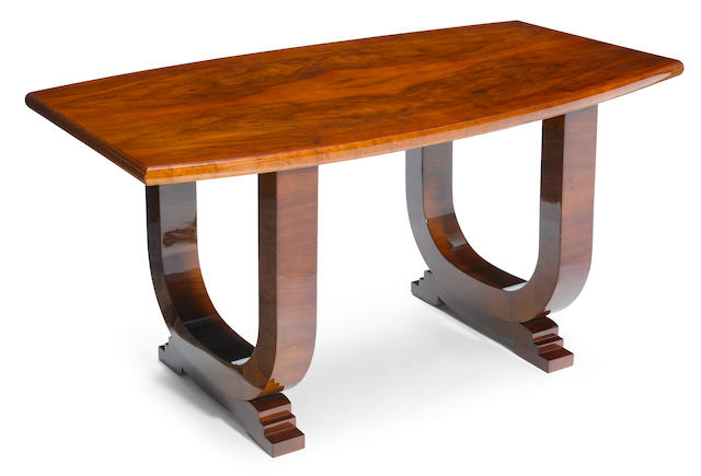 A French Art Deco mixed wood dining table circa 1930