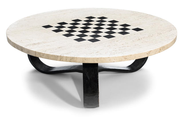 A French wrought-iron and inlaid limestone circular low table attributed to Jean Royére, circa 1940
