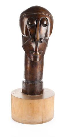 Dumile Feni-Mhlaba (Zwelidumile Mxgazi) (South African, 1942-1991) 'Head' 52cm (20 1/2in) high (not including base)