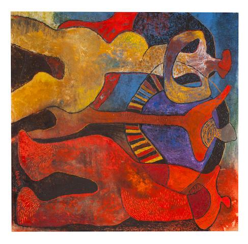 Lucky Madlo Sibiya (South African, 1942-1999) Three figures