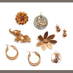 A collection of gold and gemstone earrings, pendants and brooches