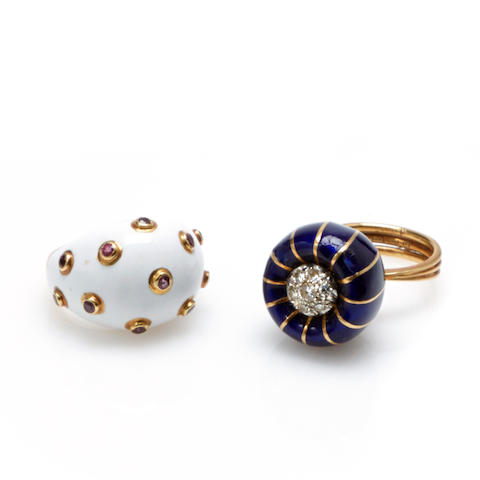 An enamel, diamond and 18k gold ring together with an enamel, ruby and 18k gold ring