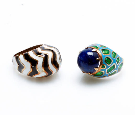 A collection of two gem-set, enamel and 14k gold bombe' style rings