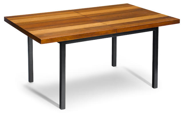A Milo Baughman for Thayer Coggin mixed wood dining table