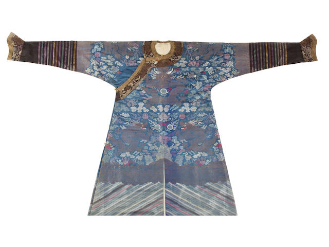 A blue ground brocade weave dragon robe Late Qing dynasty