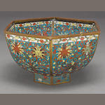A hexagonal cloisonné enameled metal bowl  Late Qing dynasty