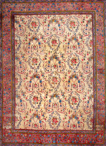 A Kashan carpet  Central Persia size approximately 12ft. 6in. x 17ft. 5in.