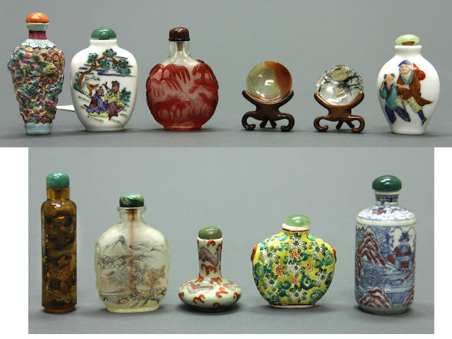 A group of nine snuff bottles