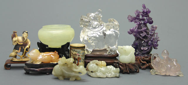 A group of carved jade and hardstone decorations