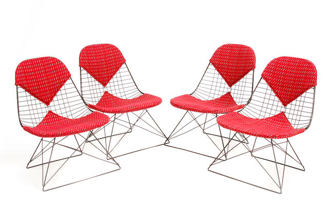 A set of four Charles and Ray Eames wire chairs mid 20th century