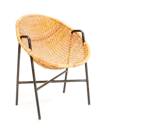 Am American wicker and enameled metal chair  mid 20th century