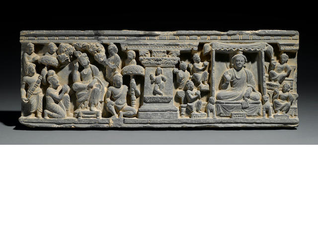 A narrative relief panel