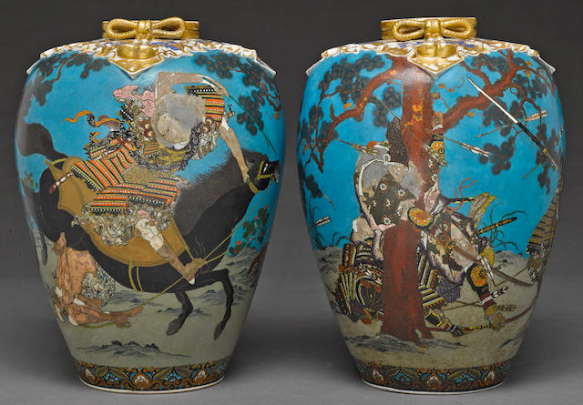 A large and unusual pair of totai cloisonné vases