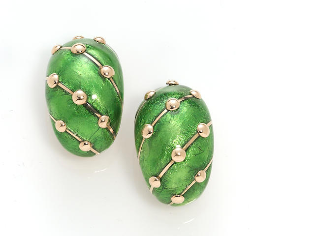 A pair of enamel and eighteen karat gold earclips, Jean Schlumberger, Tiffany & Co., French