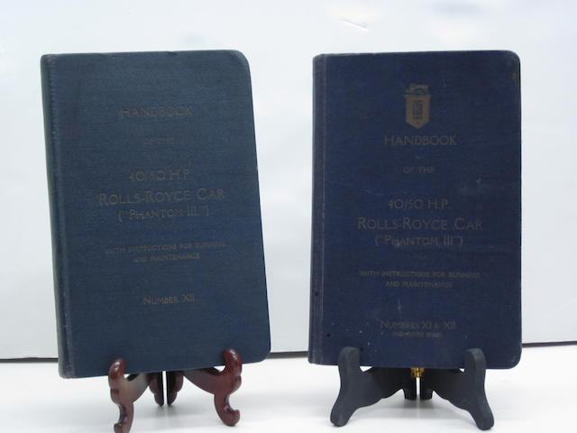A Rolls-Royce Phantom III 40/50 hp handbook number XI & XII (combined issue)