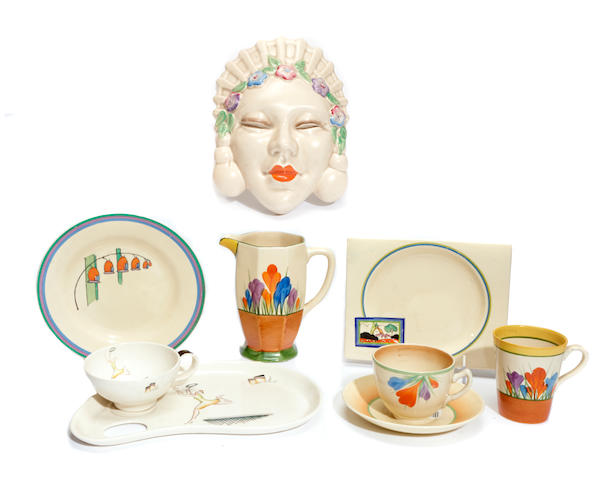 A Clarice Cliff Marlene wall mask and various other Clarice Cliff table articles
