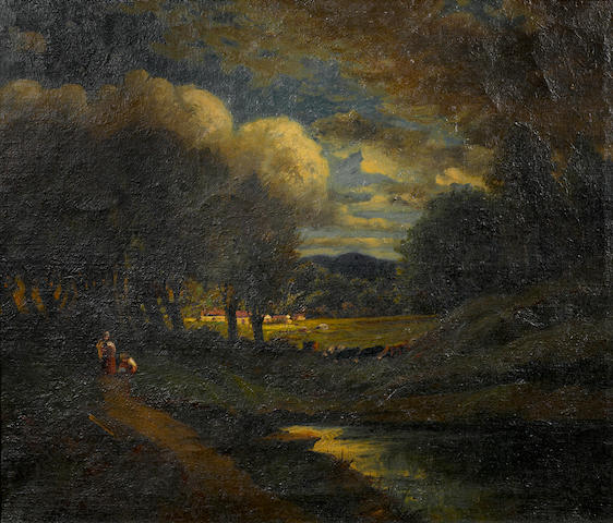Attributed to William Keith (American, 1838-1911), A landscape with figures, signed, oil on canvas, 24 x 30in