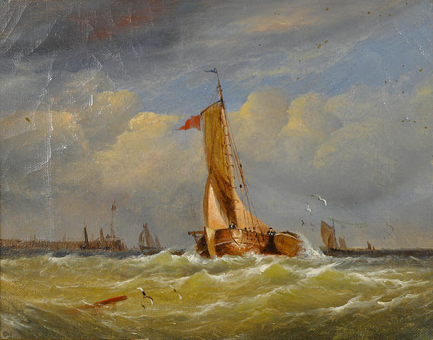 Dutch School, Willem Koekkoek (DUTCH, 1839-1895)??? Shipping off the coast; together with a painting of a similar subject (a pair)  each 8 1/4 x 10in