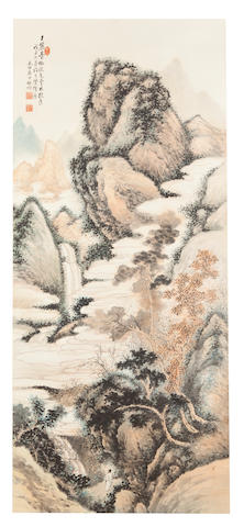 Qi Gong (1912-2005) Landscape after Wang Yuanqi, 1948