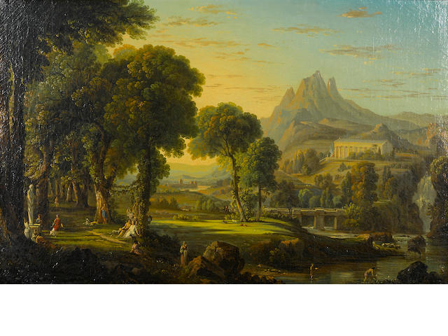 English School, early 19th Century A capriccio landscape with a figures in a garden