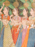 A pichhawai of the worship of Dvarkadhishji by the gopis Kishangarh, 2nd half of the 19th century