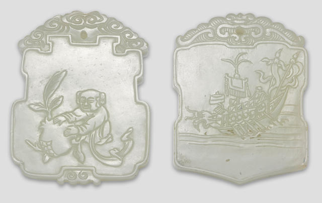 A group of two white jade plaques