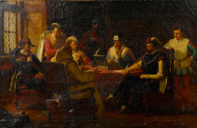 Continental School, 19th Century Figures gathered around a table 12 x 18in
