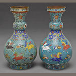 A pair of turquoise ground cloisonné enameled metal vases  Jingtai marks, late Qing dynasty