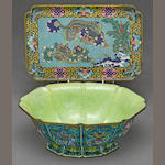 Two polychrome enameled metal decorations <BR />Late Qing/Republic period