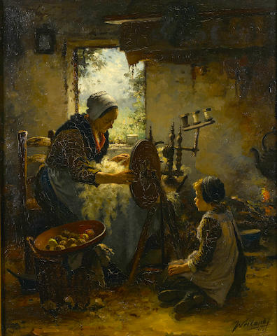 Johannes Weiland (Dutch, 1856-1909) A mother and child at a spinning wheel 32 x 27in