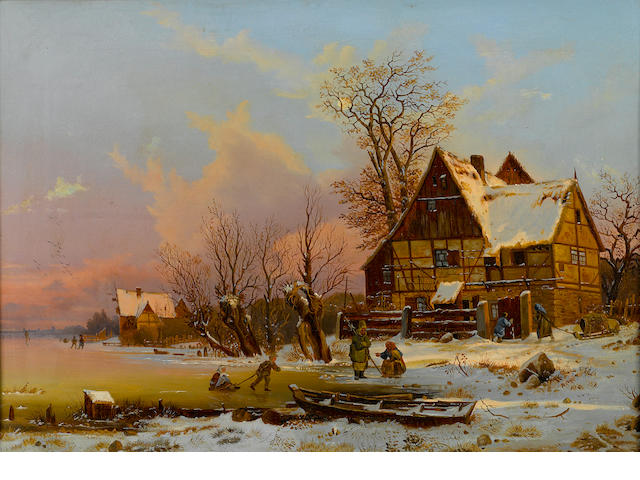 Dutch School, 19th Century A winter scene in Holland 15 x 22in