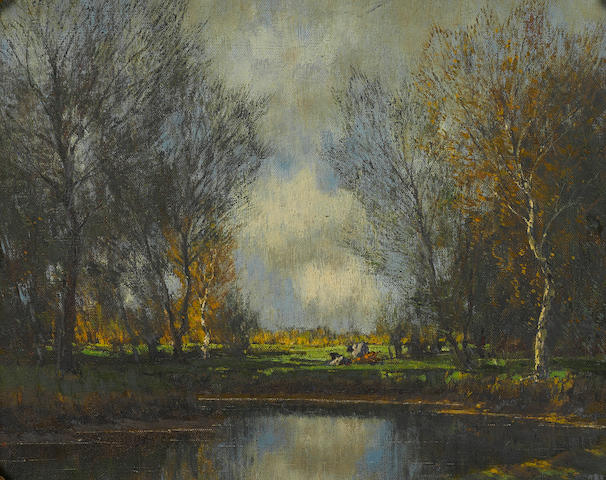 Arnold Marc Gorter (Dutch, 1866-1933) Cattle resting near a pond 15 1/2 x 19 1/4in