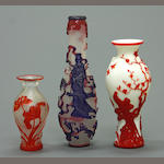 Three overlay decorated glass vases