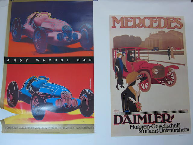 A grouping of reproduction advertising posters,